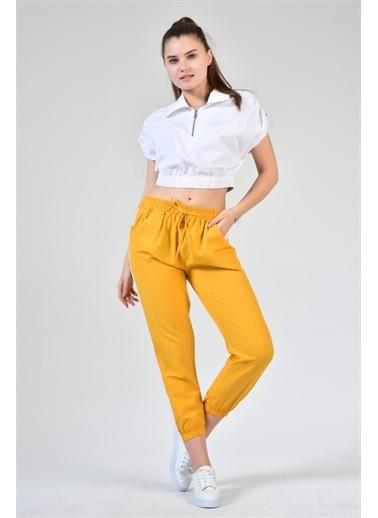 Rodi Jeans Kadın Şeritli Airobinli Jogger Pantolon DS21YB015590 Sarı